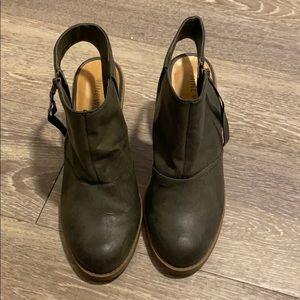 Open heeled booties
